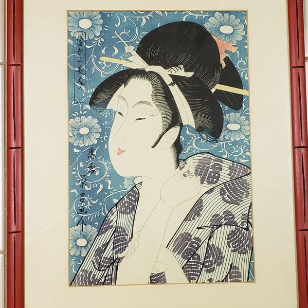 Ukiyoe blue geisha