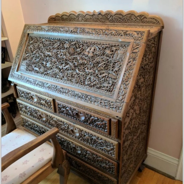 Hand-carved walnut wood desk with chair