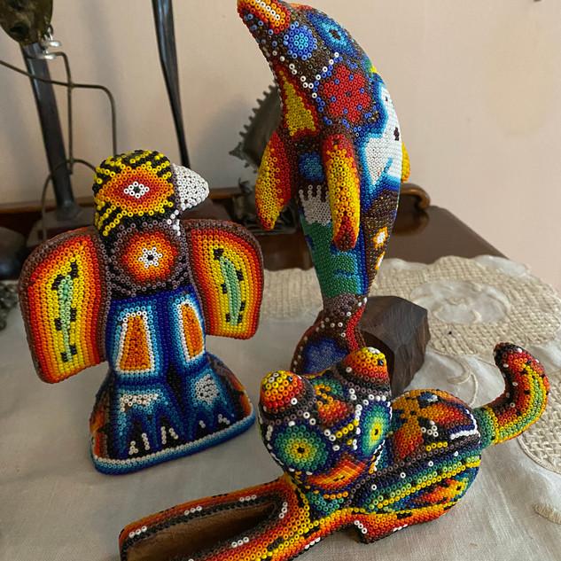 Huichol beaded animals