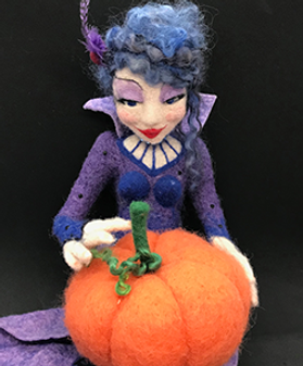 Needle felted doll, needle felted witch, needle felted pumpkin