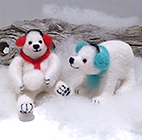 Needle felted polar bears