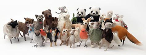Needl felted animals and birds