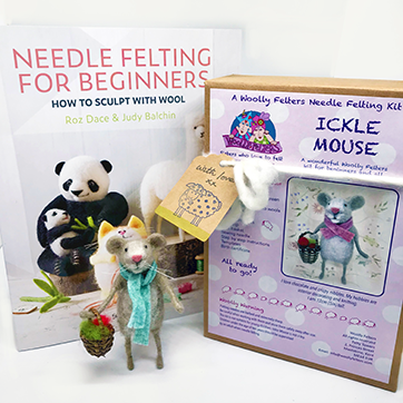 Needle Felting for Beginners book plus Ickle Mouse kit