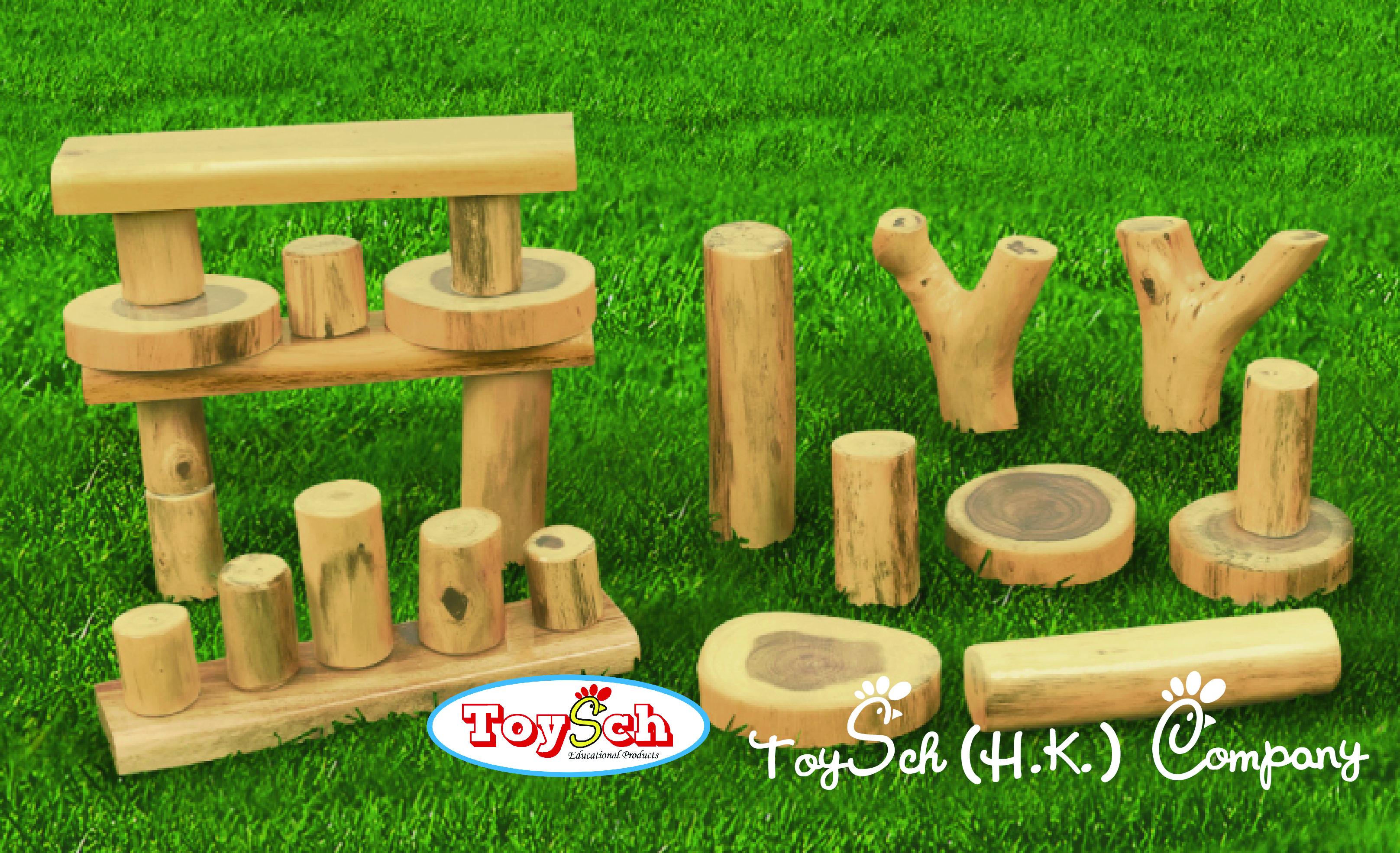 Wooden Log Blocks Set