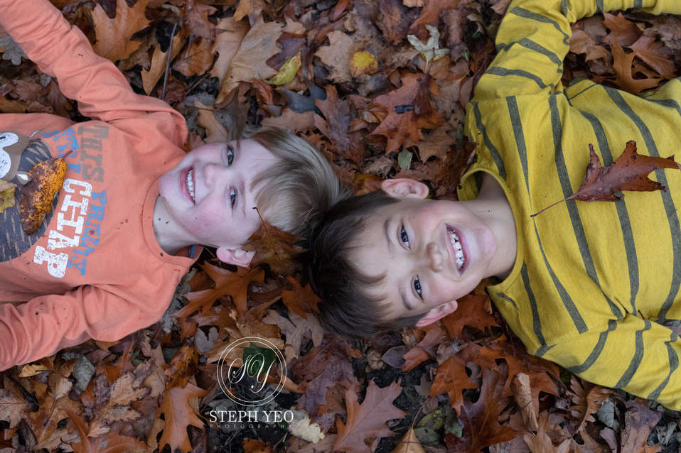Brothers laid in autumnal leaves