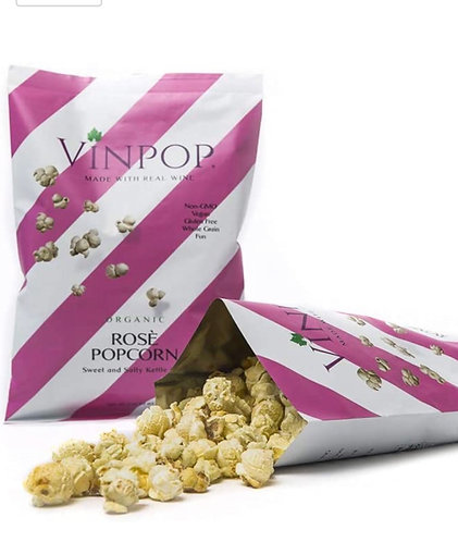 VINPOP Organic Popcorn - Rosé, 2 Ounce Bag - Made with Wine Popcorn, Non GMO, Gl
