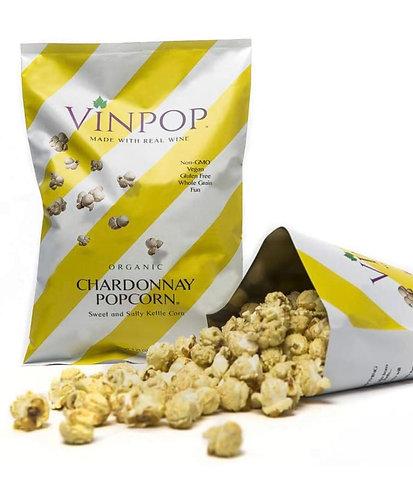 VINPOP Organic Popcorn - Chardonnay, 2 Ounce Bag - Made with Wine Popcorn, Non G
