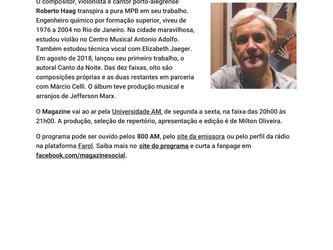 Roberto Haag e seu CD 'Canto da Noite' em destaque na Rádio Universidade de Santa Maria