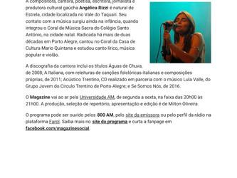 Angélica Rizzi em destaque no programa Magazine da Rádio Universidade de Santa Maria