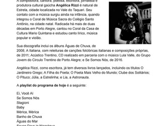 Angélica Rizzi é destaque em programa da Rádio Universidade