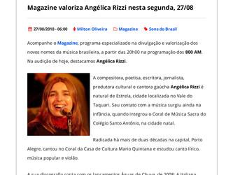 Angélica Rizzi em destaque na Rádio Universidade AM de Santa Maria nesta segunda 27/08