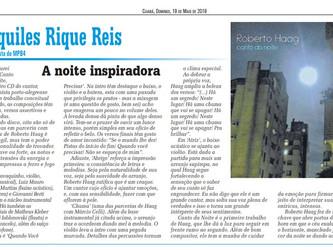 Álbum 'Canto da Noite' de Roberto Haag em destaque na coluna de Aquiles Rique Reis