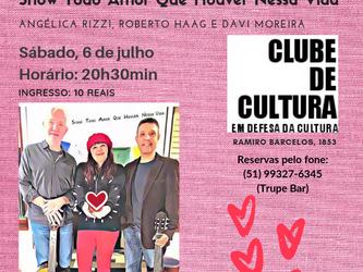 Angélica Rizzi e Roberto Haag estreiam show 'Todo Amor Que Houver Nessa Vida' no Clube de Cu