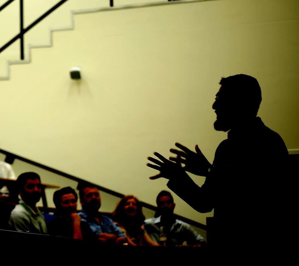 Lecturer, silhouetted. Image (c) 2015 Paul McGovern