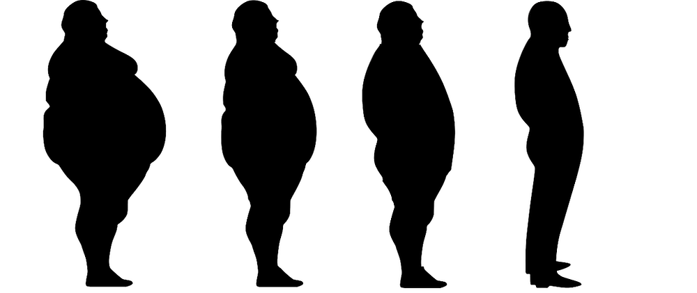 A series of silhouetted characters facing right, obese on the left, reducing to apparently normal bodyweight on the right