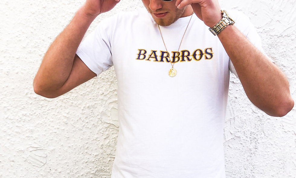 White Barbros Tee With Dual Graphic