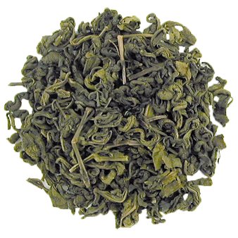 Organic green tea leaves.