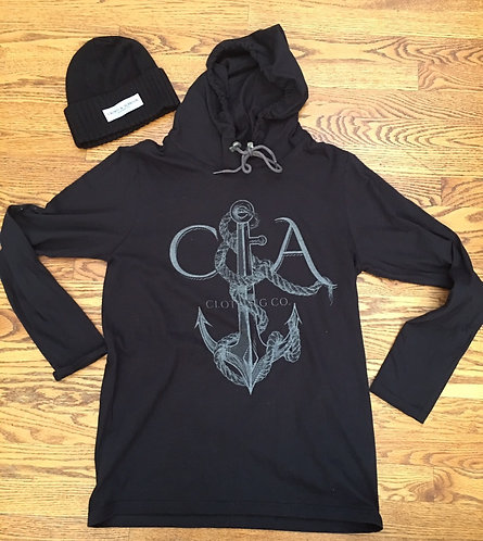 Black Maritime Hoodie with reflective Ink