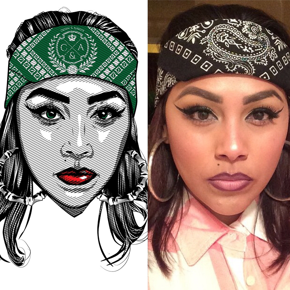 "This image of Nayeli Orozco, was draw by Donald Wooten of Stolen Outfitters and made into a design we called, ""Cholita B-Girl!""  Nayeli not only was the Muse for the shirt design but also the the video created by Bobby LeFebre, Jeremy Pape and Crown Albrook! Please watch the video and see how incorporated Nayeli, poetry and Denver's Northside into one project!"