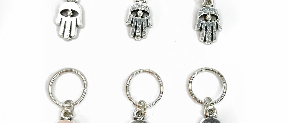 Hamsa Hand Rings Silver - Pack of 6