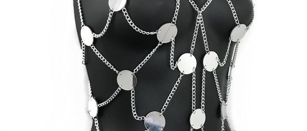 Disco Gleamer Mirrored Top - Silver