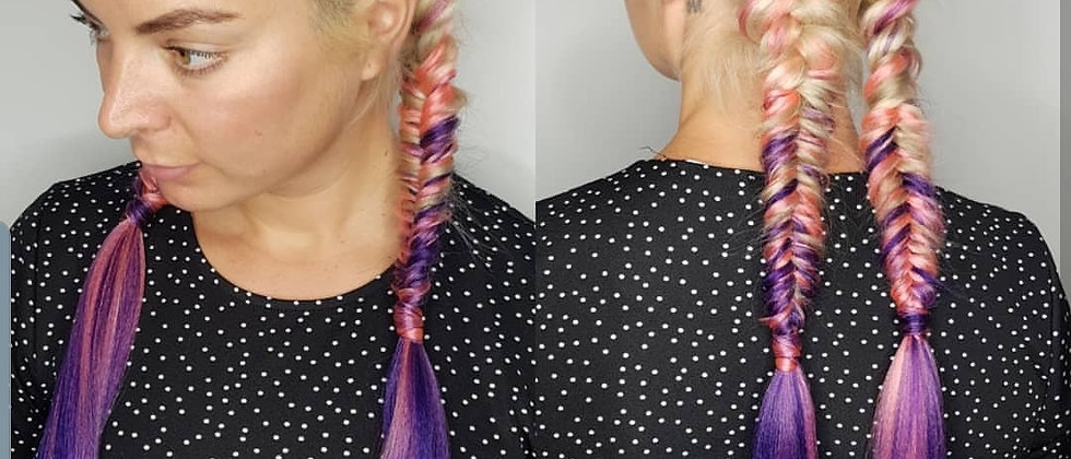 Blonde Pink Purple Ombre Braiding Extensions