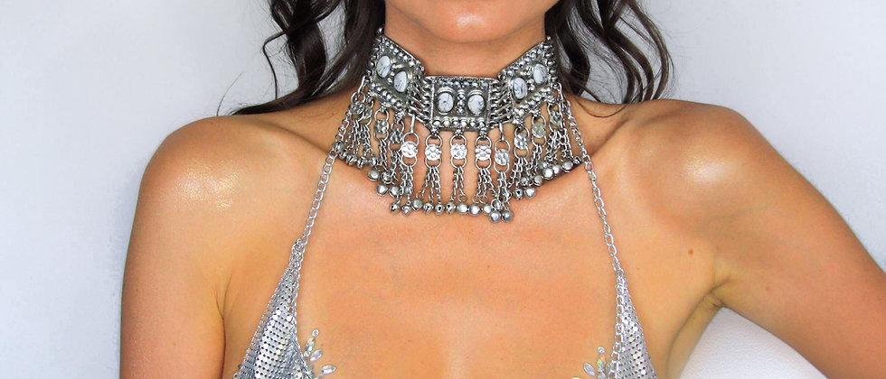 Harlequin Chain Bra - Silver