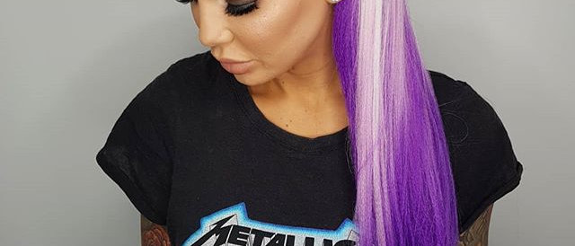 White to Purple Ombre Synthetic Hair