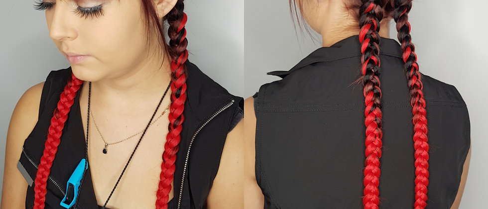 Black to Red Ombre Braiding Extensions