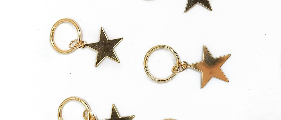 Gold Star Hair Rings - Pack of 6