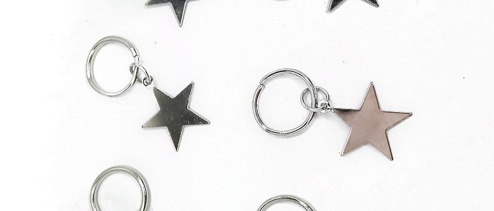 Silver Star Hair Rings - Pack of 6