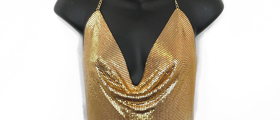 Venga Chain Halter Top - Gold