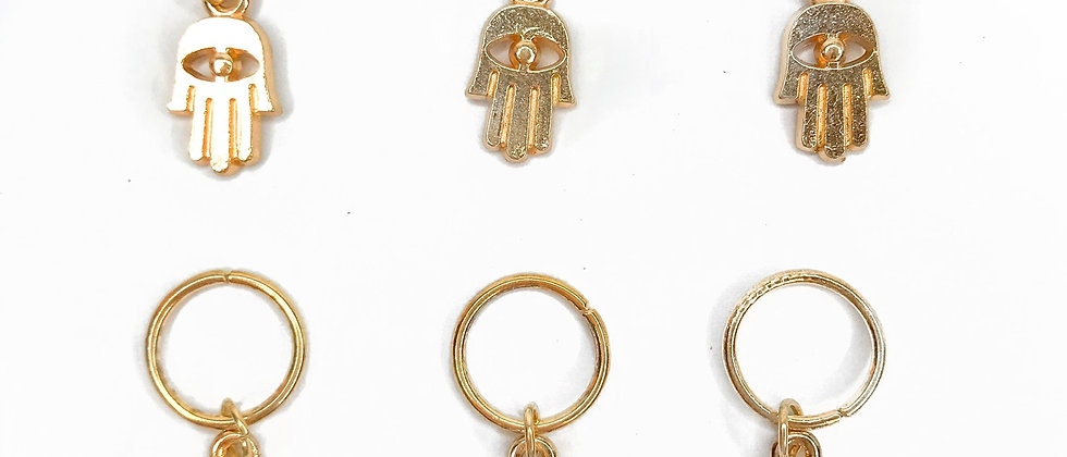 Hamsa Hand Rings Gold - Pack of 6