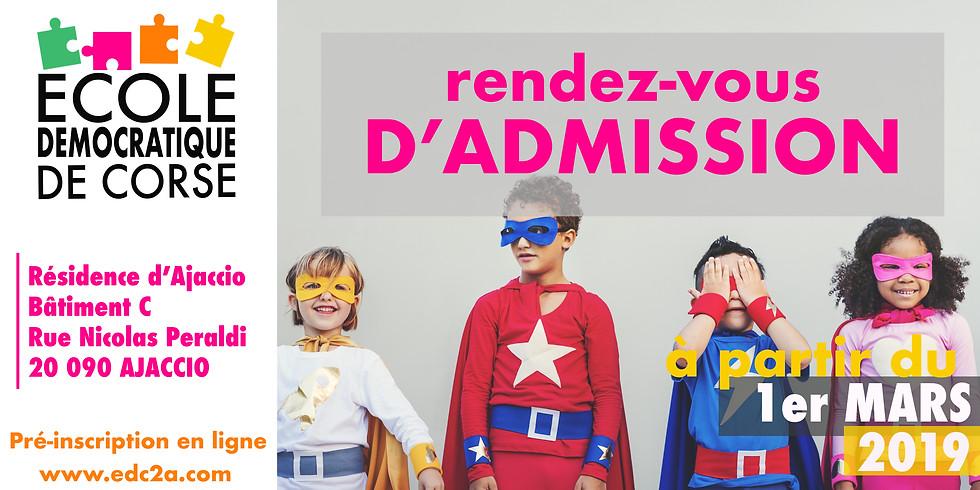RENDEZ-VOUS D'ADMISSION