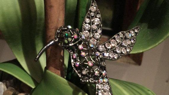 Crystal Hummingbird Brooch