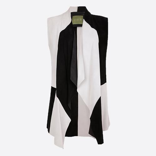 Suede Leather Sleeveless Jacket - Black & White