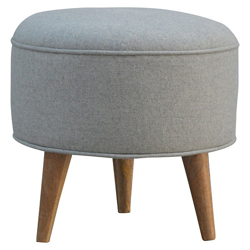 Grey Tweed Pouf Footstool