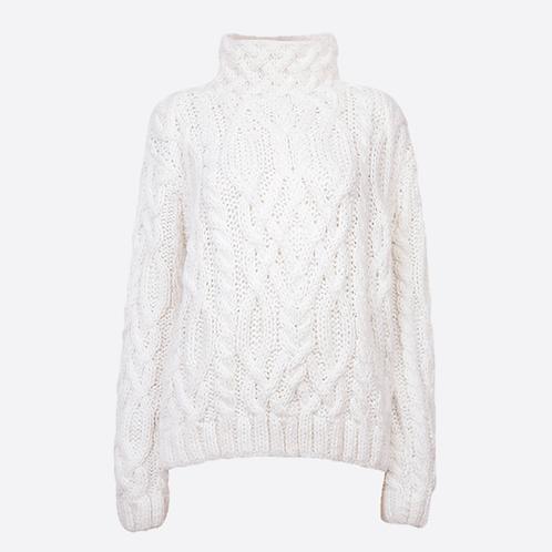 Alpaca Hand Knitted High Neck Sweater - White