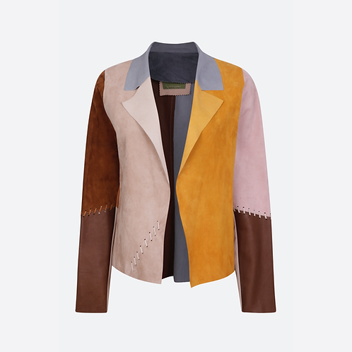 Suede Leather Classic Short Jacket with Stitch Detail - Patchwork 1