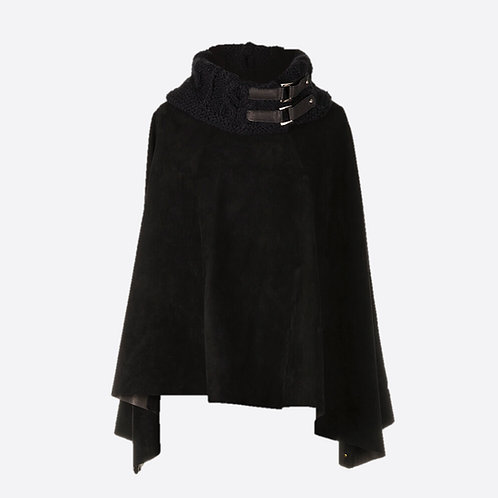 Suede Leather Poncho With Alpaca Knit Collar - Black