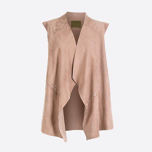 Suede Leather Sleeveless Jacket - Beige