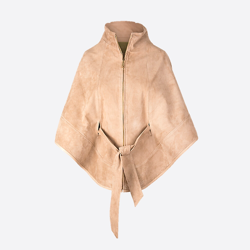 Suede Leather Cape With Belt - Beige