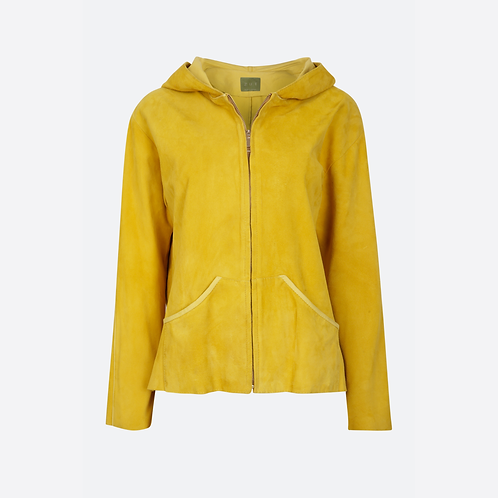 Suede Leather Hoodie - Yellow
