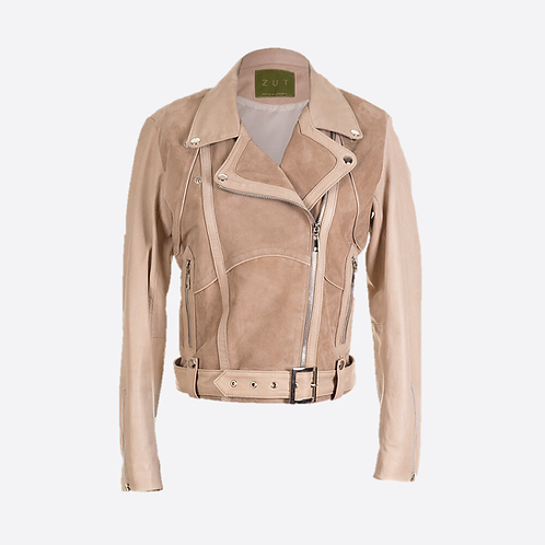 Classic Combined Suede & Leather Biker Jacket With Belt & Buckle - Beige