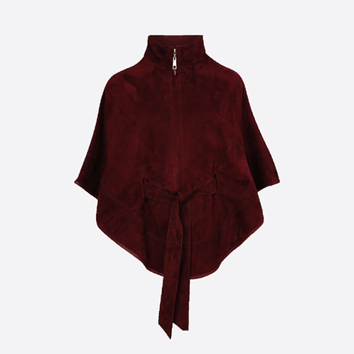 Suede Leather Cape With Belt - Wine