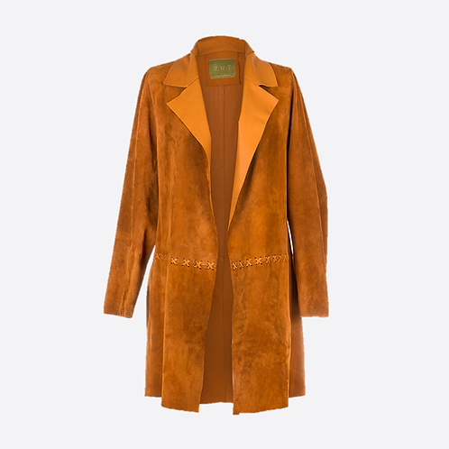 Suede Unstructured Jacket with Cross Stitch Detail - Honey