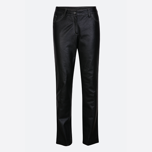 Classic Soft Leather Jeans with White Stitching