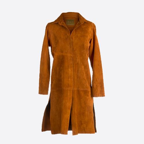 Suede Leather Dress & Coat- Honey