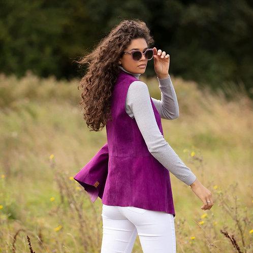 Suede Leather Sleeveless Jacket - Lilac