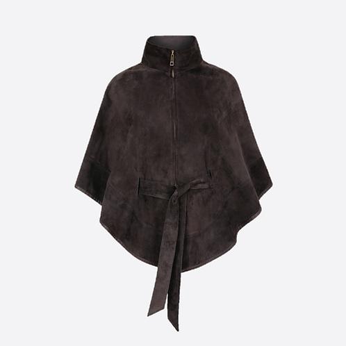 Suede Leather Cape With Belt - Dark Grey